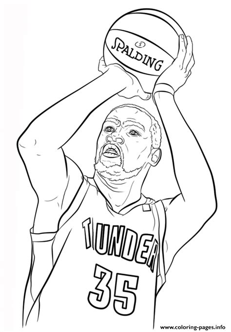 kevin durant nba sport coloring pages printable