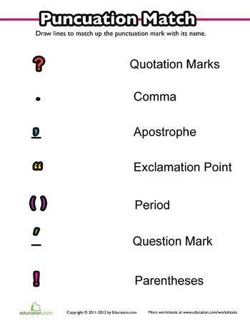 punctuation practice matching folder