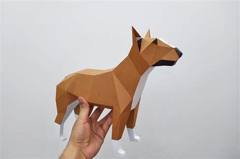 diy bull terrier papercraft bull terrier