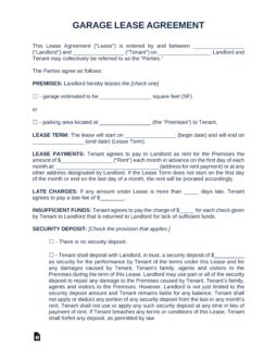 garage parking rental lease agreement template