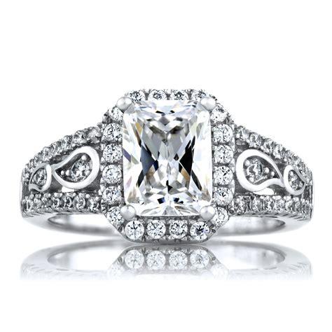 pavi s 1 74ct deco style emerald cut cz engagement ring