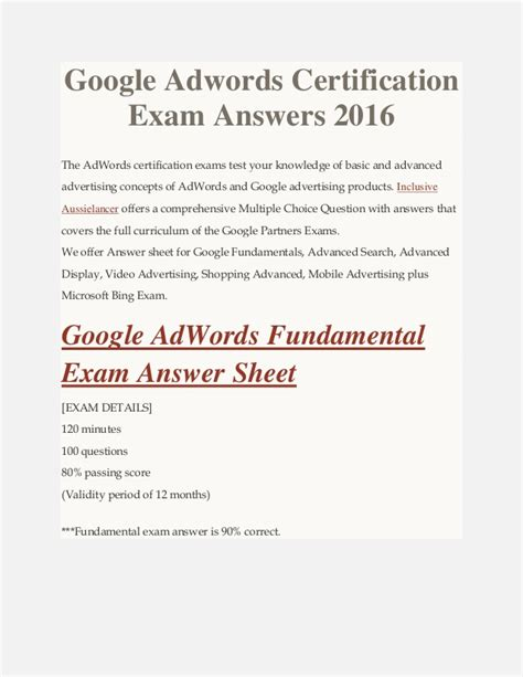 Adwords Certification by Adwords Certification Answers 2016