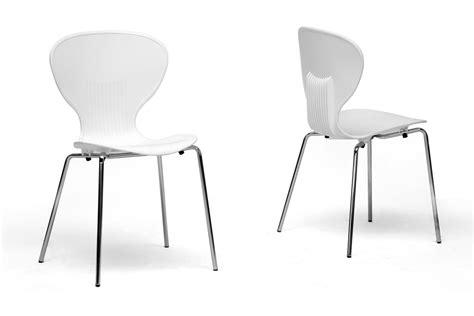 baxton studio boujan white plastic modern dining chair