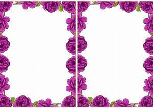 Free digital purple rose frame and border in vintage ...