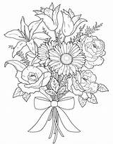 Coloring Pages Valentine Flower Valentines Bouquet Adult Adults Easter sketch template
