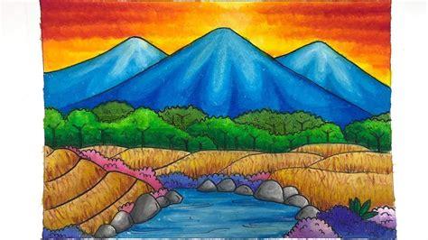 mewarnai gradasi gambar pemandangan dengan crayon