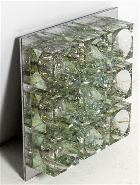 9 light chrome glass cube wall sconce by gaetano sciolari for lightolier ebay vintage
