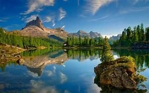 Lake, Dolomites, Mountains, Forest, Mountains, Reflection