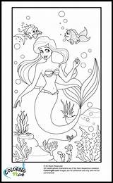 Coloring Disney Ariel Princess Mermaid Colors Templates Template sketch template