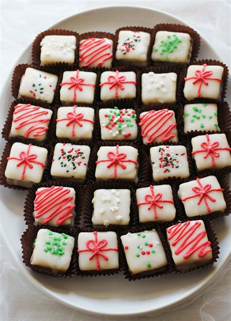 peppermint bark petit fours  beautiful mess