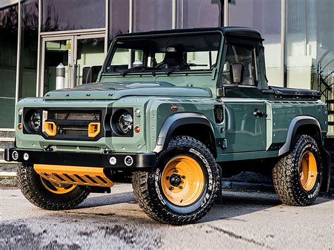land rover defender pickup truck tipped  rival mercedes