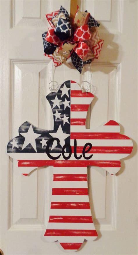 wooden door hangers to paint handpainted wood door hanger large cross patriotic