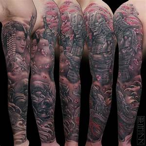 Japanese sleeve tattoo. Geisha, dragon, temple, samurai ...