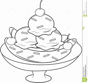 Banana Split Coloring Page Stock Illustration - Image ...
