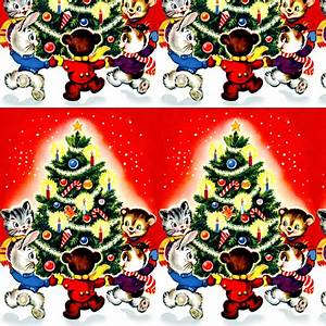 Merry Christmas winter snow trees cats rabbits hares bears