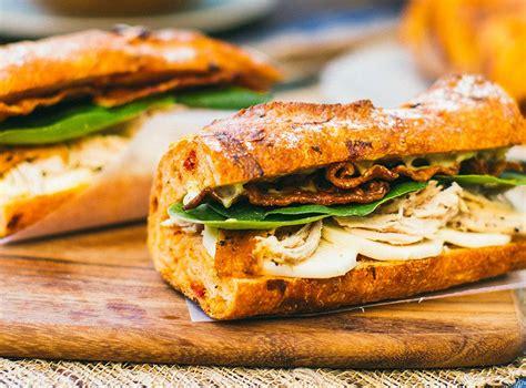 chicken  spinach baguette sandwich cobs bread