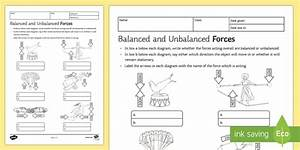 Balanced And Unbalanced Forces Worksheet - Science