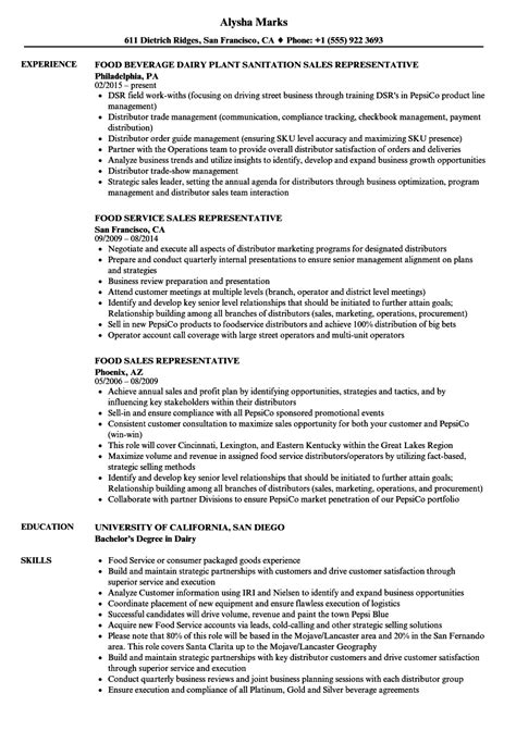 Sle Of Resume For Sales Representative by Food Sales Representative Resume Sles Velvet
