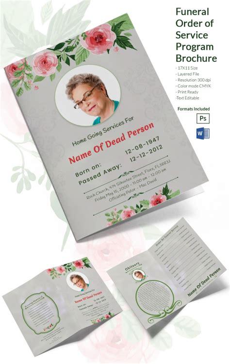 Funeral Brochure Template Word Funeral Program Template 16 Word Psd Document