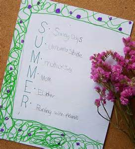 Acrostic Poems About Summer