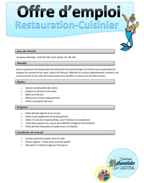 offre d emploi cuisiniste offre d emploi cuisinier
