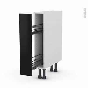 Meuble De Cuisine Noir : meuble de cuisine range pice epoxy ginko noir 1 porte l15 x h70 x p58 cm oskab ~ Teatrodelosmanantiales.com Idées de Décoration