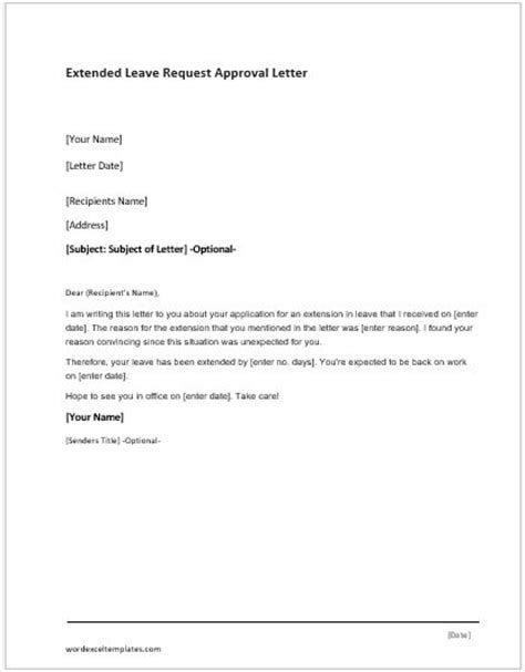 application letter  extend leave