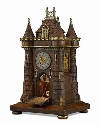 Clock Antique Castle Medieval Clocks Garniture Union