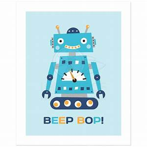 "Retro robot nursery wall art print with text ""Beep Bop"""