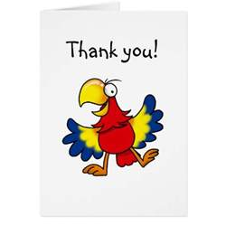 Funny parrot thank you card   Zazzle
