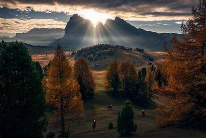 Dolomites Mountains Fall Nature Clouds Animals Desktop