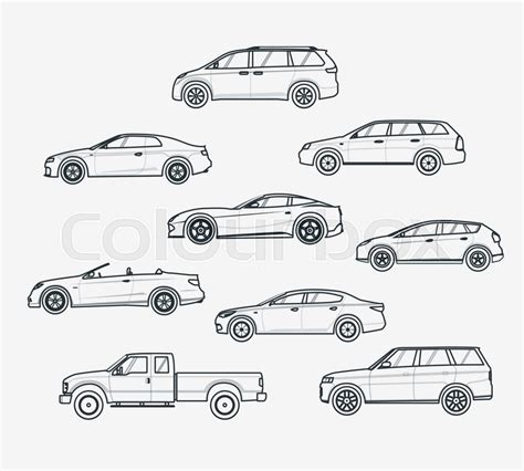 Liner Icons Set Of Cars Types. Sedan And Minivan