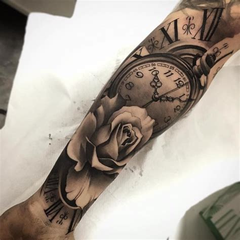 rose clock tattoo arm sleeve special moment endless love