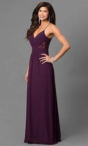 Long Eggplant Purple Formal Prom Dress with Lace