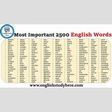 2500 Most Important English Words  English Study Here
