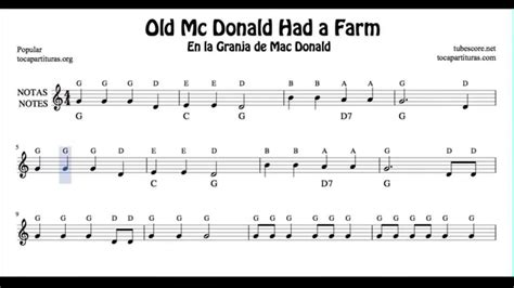 For windows, mac and linux. Old Mc Donald Had a Farm Free Notes Sheet Music for Beginners Violin Flute Recorder Oboe Chords ...