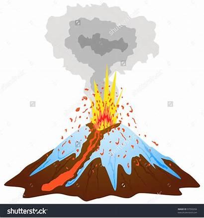 Volcano Clipart Clip Area Mountain Peak Snow