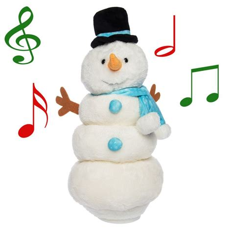 singing dancing snowman plush color changing lights