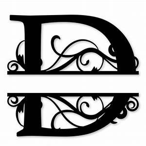 monogram letter die cut vinyl decal pv1320 snc split With vinyl cut out letters