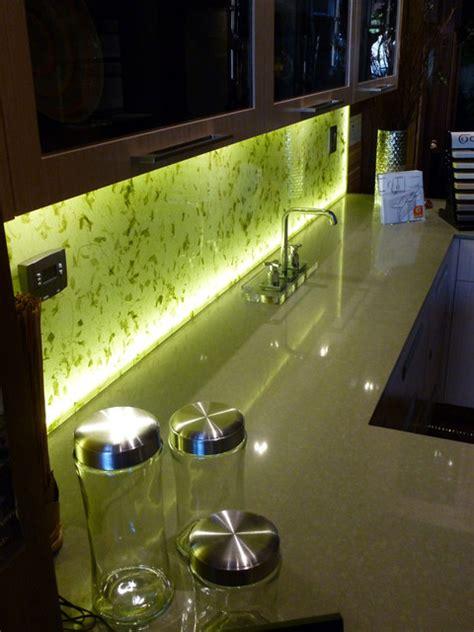 illuminated kitchen backsplash  rice paper leaves