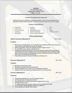 carpenter resumeexamplessamples free edit with word With carpenter resume template