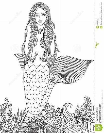 Mermaid Coloring Adult Illustration Amazing Vector Corals