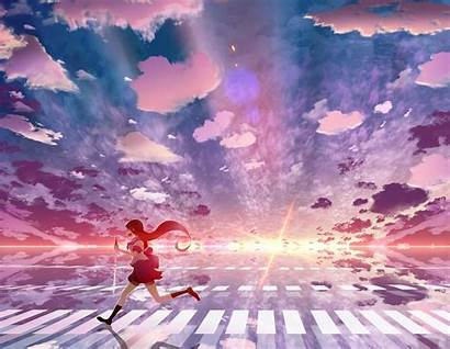 Anime Running Sky Langit Schoolgirl Rain Wallpapers