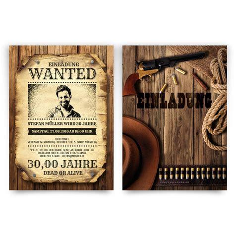 einladungskarten geburtstag als wanted poster