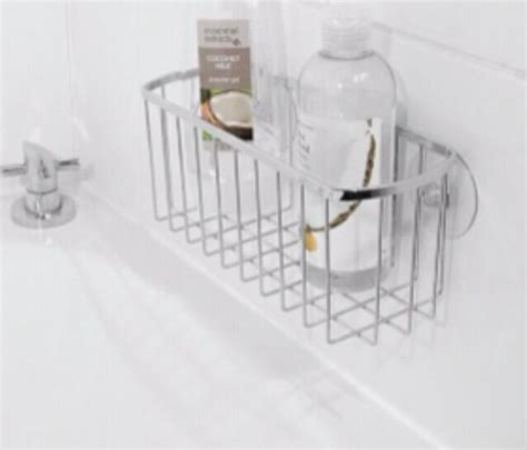 chrome bath shower shampoo holder basket suction bath