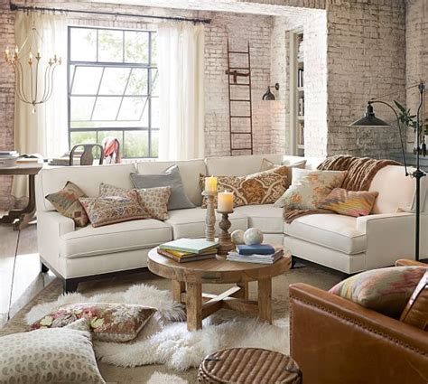 Pottery Barn Living Room Pillows by Seabury Upholstered 3 Sectional With Wedge Pottery