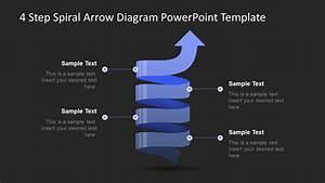 Powerpoint Arrow Spiral 4 Steps Diagram