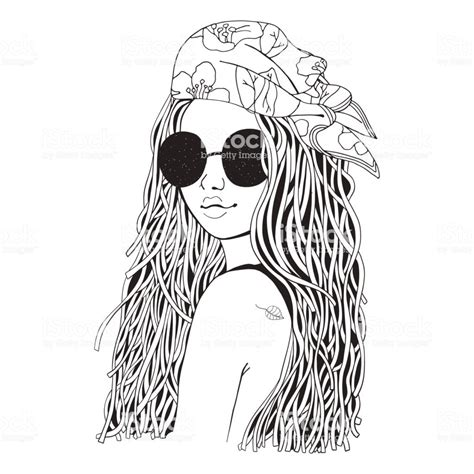 young beautiful girl  sunglasses  bandana black