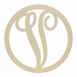 23quot script circle monogram wooden letter v ab2255 With monogram letter v