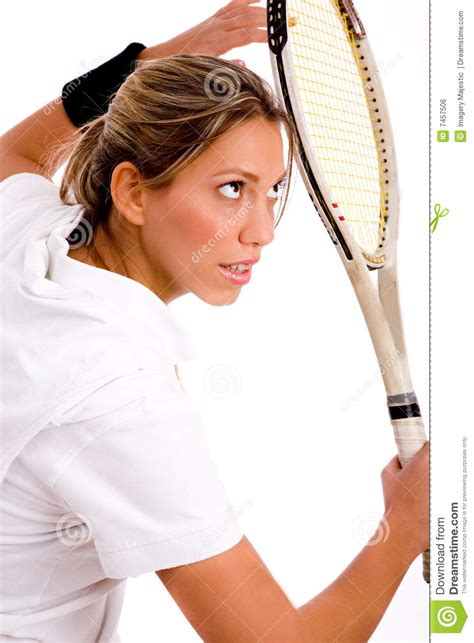 Side View Of Young Woman Ready To Play Tennis Royalty Free
